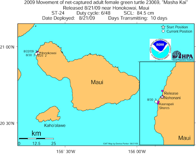 Tracking map for Masha Kai as of Aug 31 09
