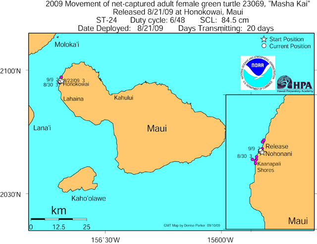Tracking map for Masha Kai as of September 9 2009