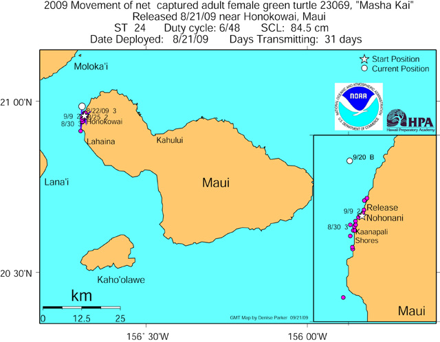 Tracking map for Masha Kai as of Sep 21 09