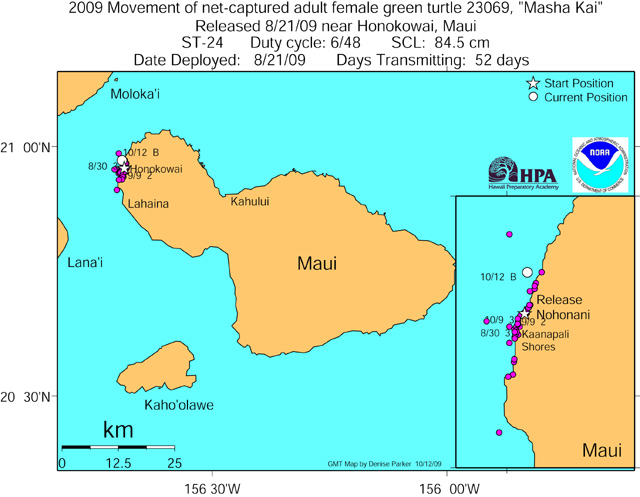 Tracking map for Masha Kai as of Oct 12 09