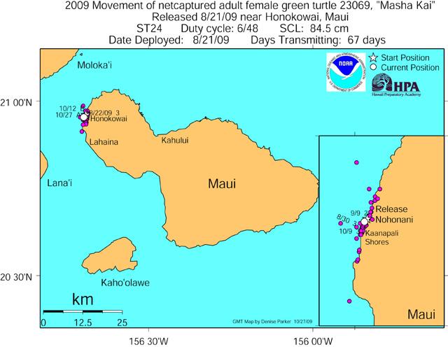 Tracking map for Masha Kai as of Oct 27 09